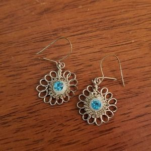 Silver Wire Flower Earrings with Blue Stone
